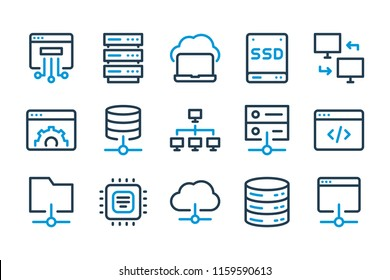Hosting related line icon set.