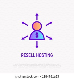 Hosting reseller thin line icon. Modern vector illustration.