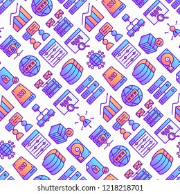Hosting seamless pattern with thin line icons: VPS, customer support, domain name, automated backup, SSD, control panel, secure server, local network, SSL. Modern vector illustration.