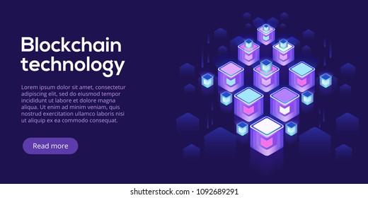 Hosting server isometric vector illustration. Abstract 3d datacenter or blockchain background. Network mainframe infrastructure website header layout. Computer storage or farming workstation.