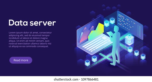 Hosting server isometric vector illustration. Abstract 3d datacenter or blockchain background. Network mainframe infrastructure website header layout. Computer storage or farming workstation.