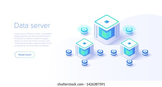 Hosting server isometric vector illustration. Abstract datacenter or blockchain background. Network mainframe infrastructure website layout. Computer storage or farming workstation.