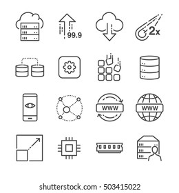Hosting and server related line icons set 1. Included the icons as big data, transfer, transaction, resize, web, online and more.