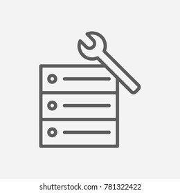 Hosting service icon line symbol. Isolated vector illustration of repair server sign concept for your web site mobile app logo UI design.