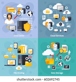 Hosting services concept icons set with data storage symbols flat isolated vector illustration