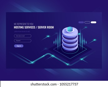 Hosting services, data center, server server room, template of page on information technologies theme sometric vector illustration ultraviolet