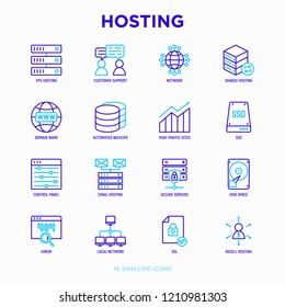 Hosting thin line icons set: VPS, customer support, domain name, automated backup, SSD, control panel, secure server, local network, SSL. Modern vector illustration.