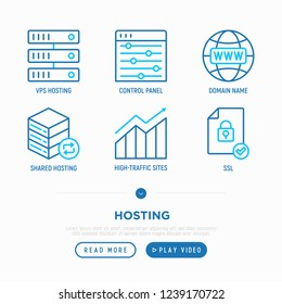 Hosting thin line icons set: VPS, domain name, control panel, SSL. Modern vector illustration.