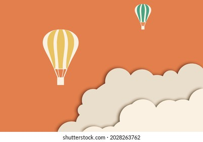 Hot aiir balloons in the orange sky with white clouds paper cut. Concept in modern 3d paper cut out style. Hot air balloon and clouds. Eps10 vector illustration.