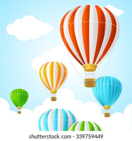 Hot Air Background Card. Symbol Travel. Vector illustration