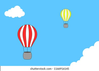 Hot air ballon on blue sky. Made with inkscape