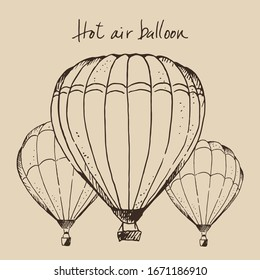 Hot air ballons hand drawn vector illustration, isolated on beige background