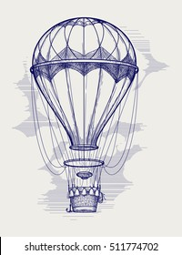 Hot air balloon ball pen sketch vector illustration