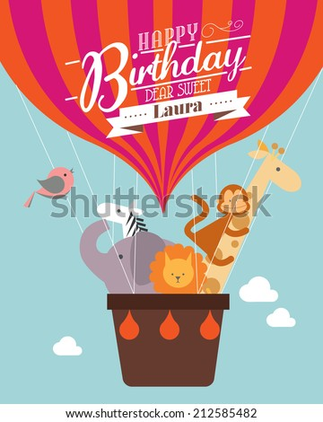 Hot Air Balloon Birthday Card Template Stock Vector Royalty Free