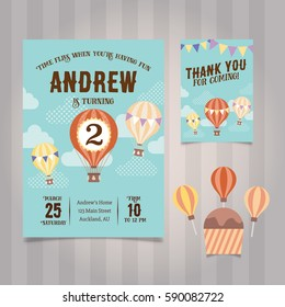 Hot Air Balloon Birthday Invitation Template