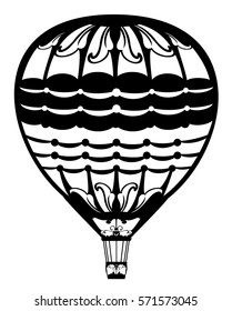 hot air balloon black and white vector design