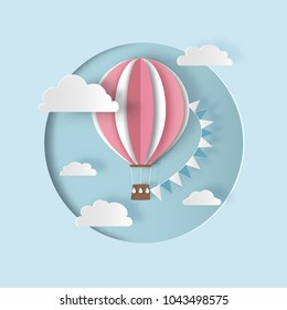 Hot air balloon with bunting flags and clouds. Paper cut out style. Carving art. Vector illustration