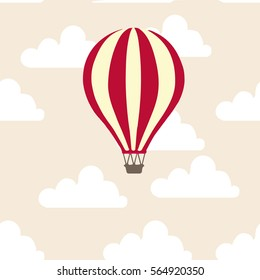 Hot air balloon in the clouds vector flat illustration