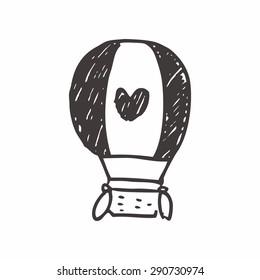 hot air balloon doodle drawing