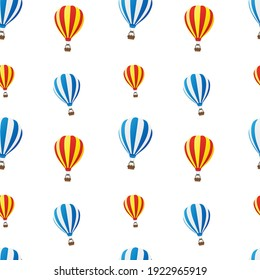 Hot Air Balloon Emoji Pattern. Fly Sky Seamless Background Symbols. Silhouette Emoticon Travel Vector.