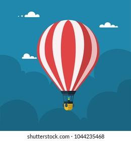 Hot air balloon. Flat cartoon design. Vector illustration.