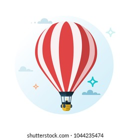 Hot air balloon. Flat cartoon design. Vector illustration.