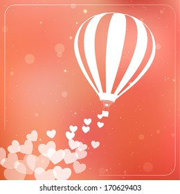 Hot air balloon with flying hearts. Romantic silhouette concept card