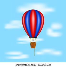 Hot air balloon flying on blue sky