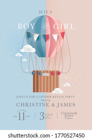 hot air balloon gender reveal celebration invitation card design template vector/illustration