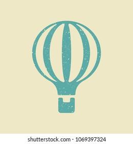 Hot air balloon icon. Flat vector illustration in grunge style