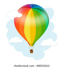 Hot air balloon icon. Flat 3d vector isometric illustration hot air balloon.