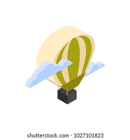 Hot Air Balloon Icon Isometric Isolated Travel Concept Vector Illustration
