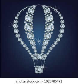 Hot air balloon icon made a lot of diamonds.