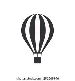 Hot air balloon icon, modern minimal flat design style, vector illustration