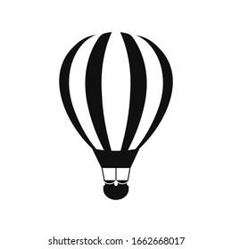 Hot air balloon icon on white background.