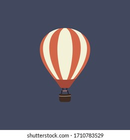Hot air balloon icon on blue background Stock vector illustration