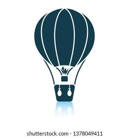 Hot air balloon icon. Shadow reflection design. Vector illustration.