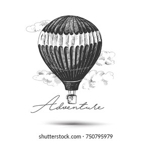Hot air balloon isolated on white background - Hand Drawn Sketch Vector illustration.