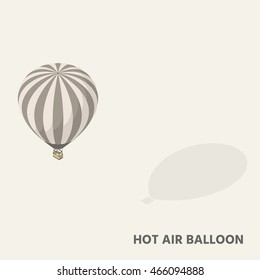A hot air balloon in isometric view with shadow.