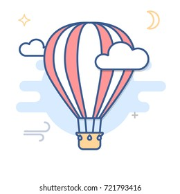 Hot Air Balloon Line Illustration