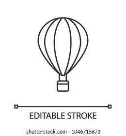 Hot air balloon linear icon. Thin line illustration. Aerostat. Contour symbol. Vector isolated outline drawing. Editable stroke