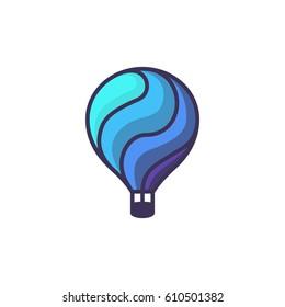 Hot air balloon logo. Cartoon illustration of hot air balloon vector icon for web design or logo template