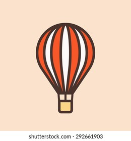 Hot air balloon outline color icon, modern minimal flat design style vector illustration