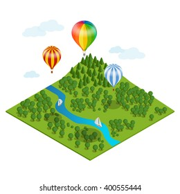 Hot air balloon over the forest and clouds. Flat 3d vector isometric illustration hot air balloons