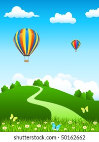 hot air balloon over green landscape - vector illustration