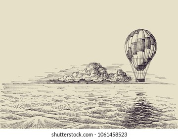 Hot air balloon over the sea. Retro style traveling hand drawn wallpaper, escape to new, unknown, exotic lands, adventure concept
