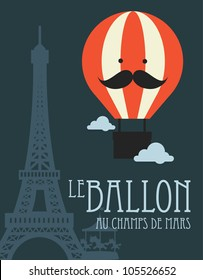 hot air balloon in paris vector/illustration