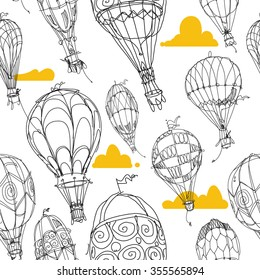 Hot Air Balloon Pattern White and Gold