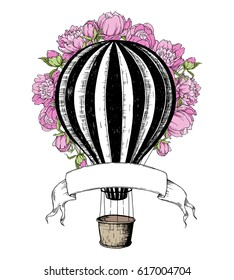 Hot Air Balloon with pink peony, template for wedding invitation. Retro airship on white background. Vector illustration