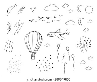 Hot air balloon, plane, moon, sun, stars, clouds, rain, snow, birds, fireworks in the sky doodle clip art
